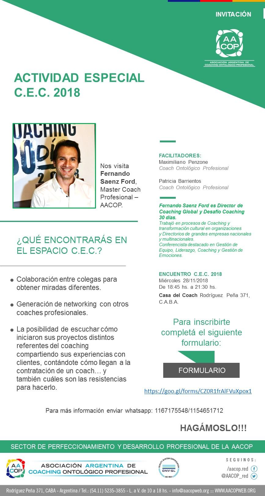 CEC - Actividad especial con Fernando Saenz Ford | imagen