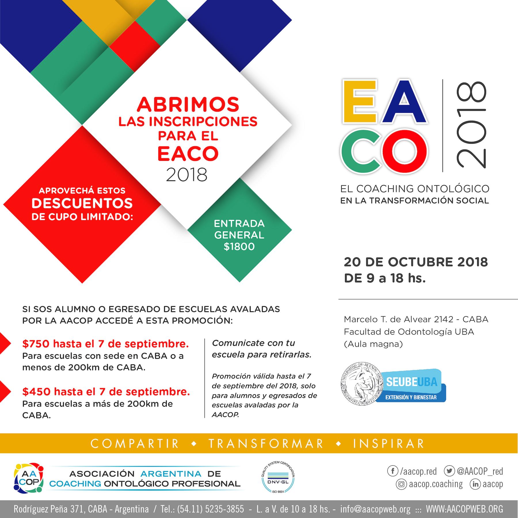 Entradas anticipadas EACO 2018 | imagen
